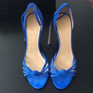 JCrew blue suede wedge sandals